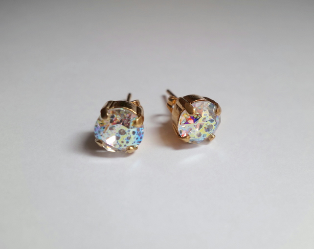 Rainbow Swarovski Crystal Earrings, Gold Plated , Prong Set White Patina Studs