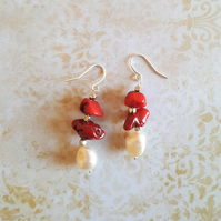 Baroque Freshwater Pearl and Coral Dangle Earrings
