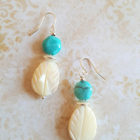 Earrings Turquoise and Shell Pearl Leaf Earrings