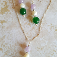 Necklace and Earring Set Amethyst Moonstone Green Agate Suffragette Jewellery