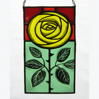 Yellow Rose Stained Glass Panel