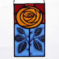Golden Rose Stained Glass Panel