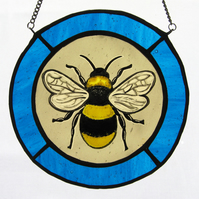 Bumble Bee & Turquoise Blue Stained Glass Roundel