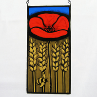 Poppy & Bumble Bee Stained Glass Panel