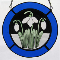 Snowdrop Stained Glass Roundel - Royal Blue Surround