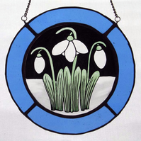 Snowdrop Stained Glass Roundel - Pale Blue Surround