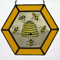 Honey Bee & Skep Stained Glass Light Catcher