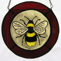 Bumblebee Stained Glass Roundel with Red Surround