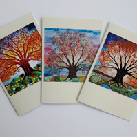 Tree of Life Art Nouveau Greeting Cards Pagan Art Pack of 3
