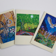 British Wildlife Greetings Cards Ar Nouveau Pack of 3 Pagan Art Nature Art