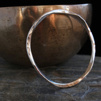 Sterling silver wonky bangle - hammered silver bracelet - hallmarked