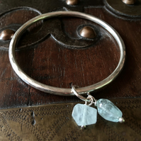 Aquamarine and sterling silver bangle - aquamarine - handmade bangle