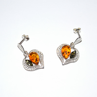 amber and sterling silver earrings