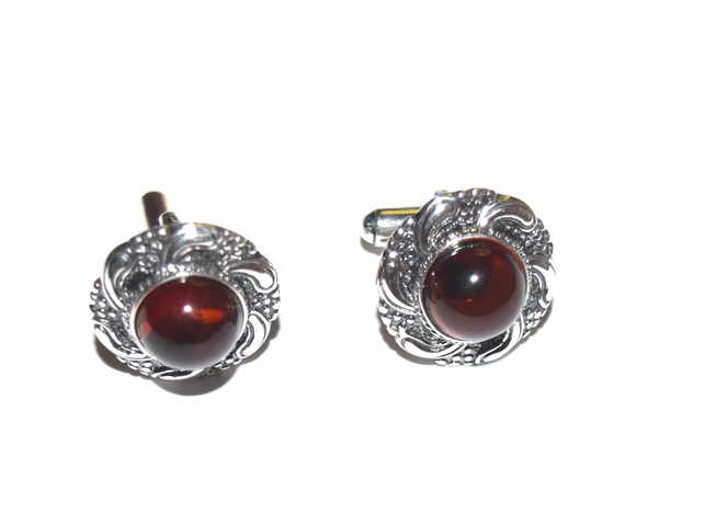 amber and sterling silver cuff links