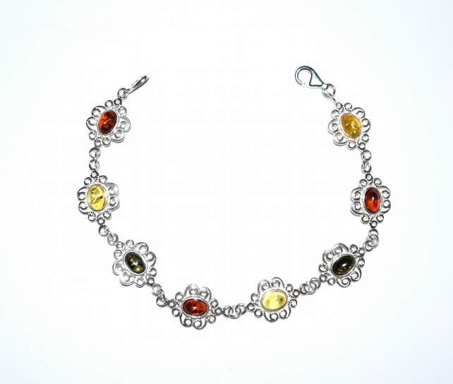 amber and sterling silver bracelet