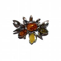 Natural amber and sterling silver brooch