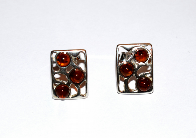 Natural amber and sterling silver earrings