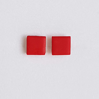 Tiny Square Red Stud Earrings