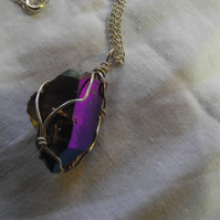 Rainbow Aura Titanium Quartz Crystal Pendant - Wrapped in Sterling Silver
