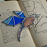 Stained Glass Baby Blue Dragon