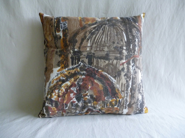 "1960s vintage ""Mosques"" fabric cushion cover"