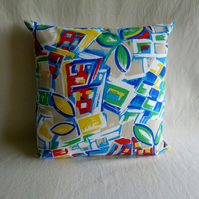 Multicoloured 1960s vintage fabric cushion cover