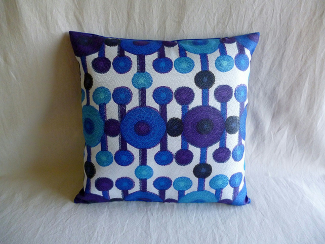 Blue and purple 1960s vintage fabric cushion cover