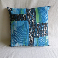"1960s vintage  blue ""Fernwood"" fabric cushion cover"