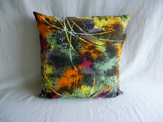 1960s multicoloured vintage fabric cushion cover