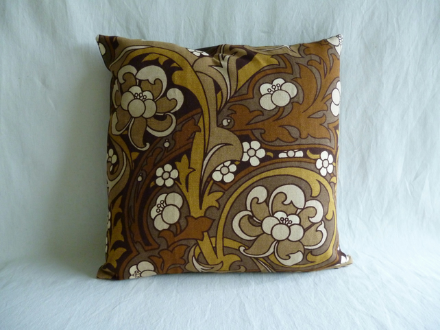 Funky 1970s vintage fabric cushion cover