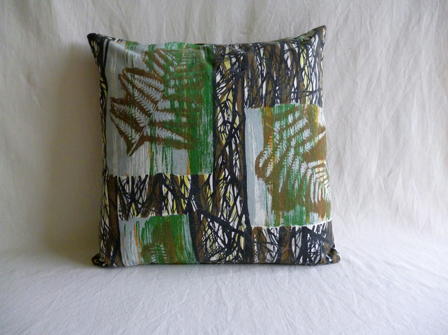 "1960s vintage  brown ""Fernwood"" fabric cushion cover"
