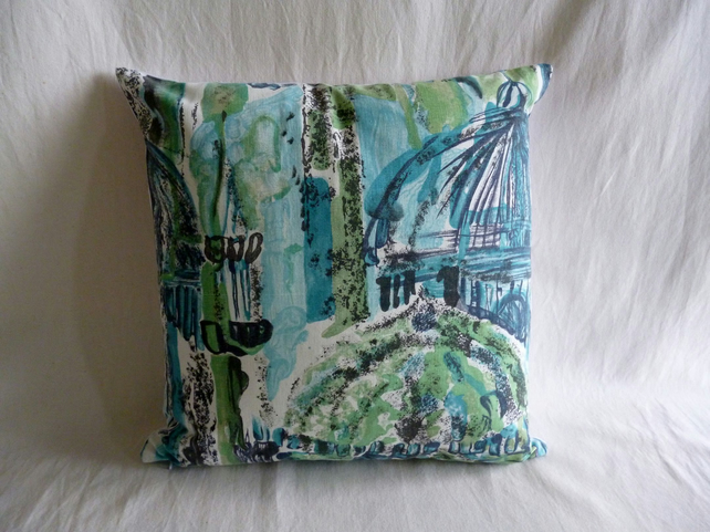 1960s vintage Mosques fabric cushion cover