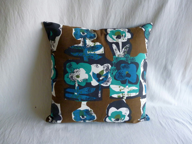 1960s vintage pansies fabric cushion cover