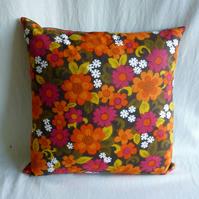 1970s funky flowers vintage cushion cover
