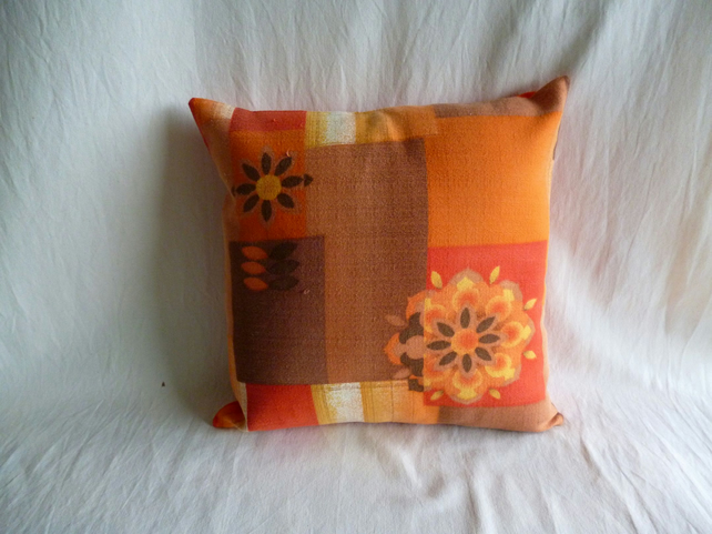 1960s vintage orange and brown fabric cushion cover