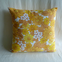 1970s vintage bright flowers cushion cover