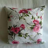 1950s vintage satin floral  cushion cover
