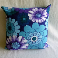 1970s vintage funky floral fabric cushion cover