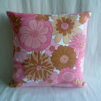1970s vintage pink floral cushion cover
