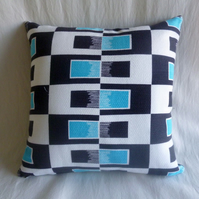 1960s  vintage black and turquoise op art fabric cushion cover