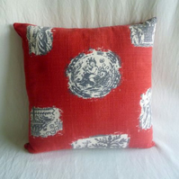 1950s vintage pictorial barkcloth cushion cover