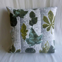1960s vintage leaf patterned barkcloth cushion cover