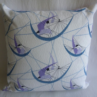 1950s white and lilac barkcloth cushion cover