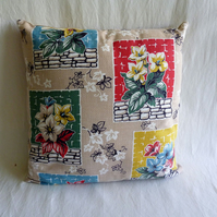 1950s vintage floral barkcloth cushion cover