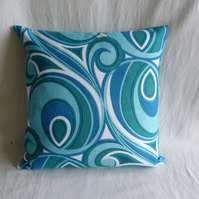 1960s turquoise funky cushion cover
