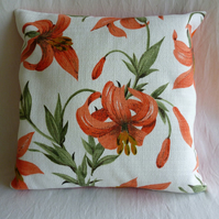 1950s vintage lily barkcloth cushion cover