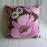 1960s bold vintage fabric cushion cover