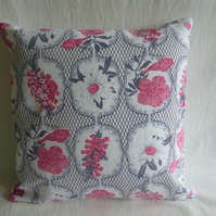 Grey and pink floral 1960s fabric cushion cover