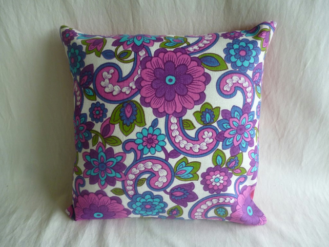 Bright and funky 1970s fabric cushion cover