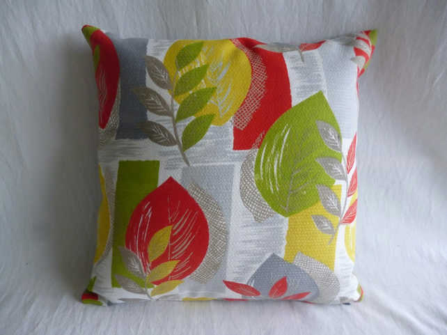 Grey leaf print vintage fabric cushion cover